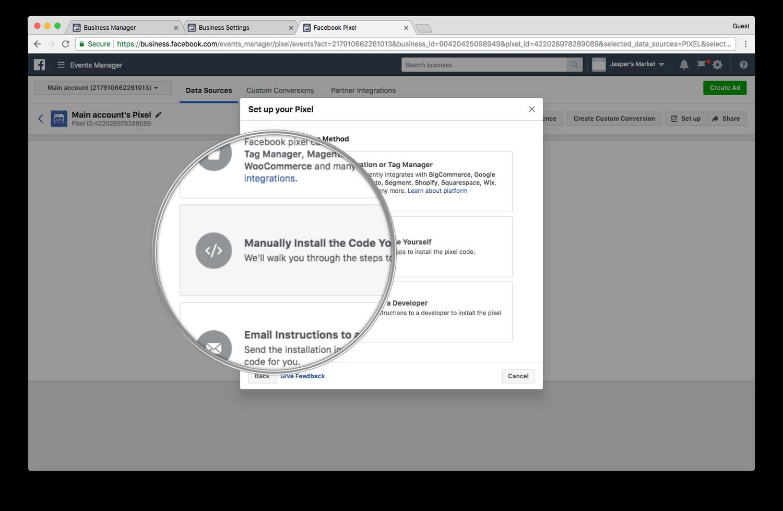Installing a Facebook pixel
