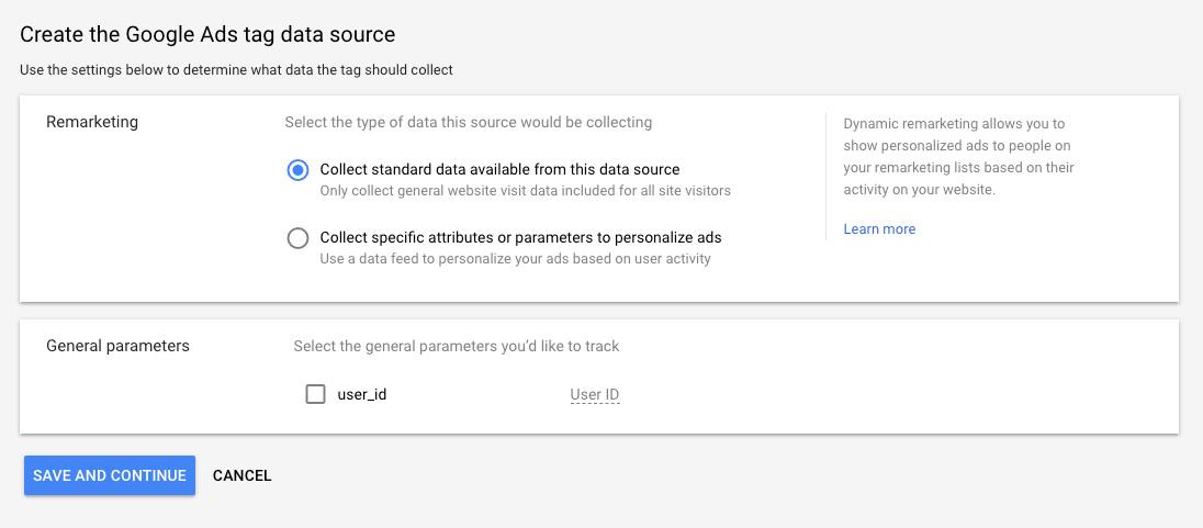 google remarketing tag data